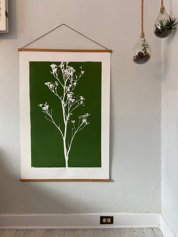 Green Botanical weed, hand pressed botanicals, From Real Plants, Green monoprint, giclee botanicals, Plant wall art, collage