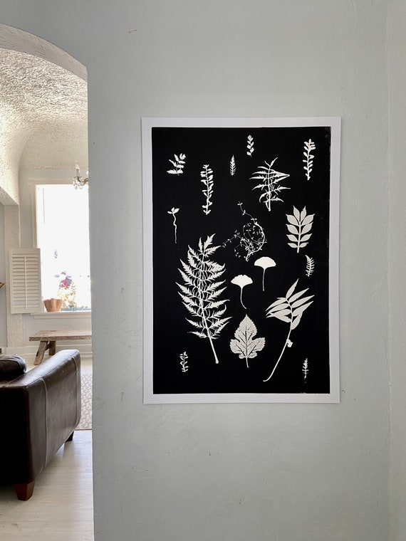 Herb wall art, hand pressed botanicals from herbs and leaves, Black botanical monoprint, 24x36 inch botanicals, Plant wall art, collage