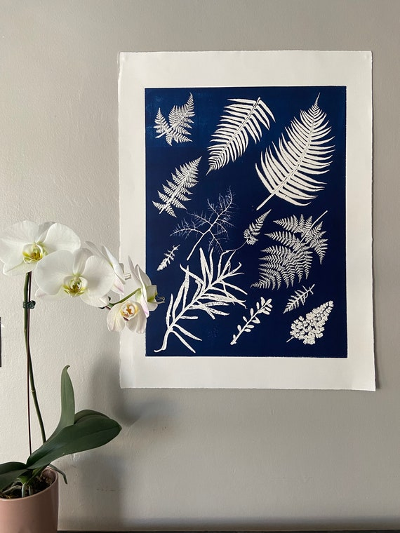Blue Ferns wall art, hand pressed botanicals from ferns and leaves, Blue botanical monoprint, 18x24 inch botanicals, Fern wall art