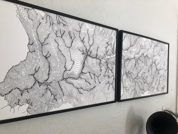 Map of Yosemite, Topographical Map of Yosemite National Park, National Park Art, Diptych Map, Set of Two 24x36 inch Maps, Yosemite NP