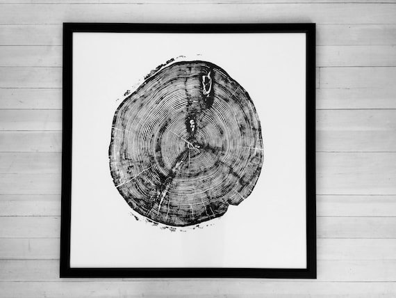 Sundance Canyon, Large Tree Ring Art Print, Fifth anniversary Gift, Huge tree ring Art, woodcut Print, hand pressed, nature inspired art