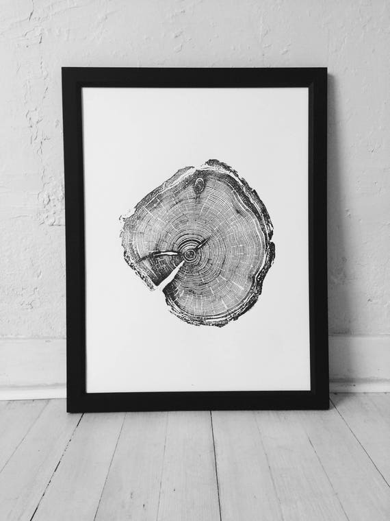 Old Growth Pine, Handmade print, 100 year old pine, Little Cottonwood Canyon, Real Tree Ring Print, woodcut print, Fathers Day Gift, Dad art
