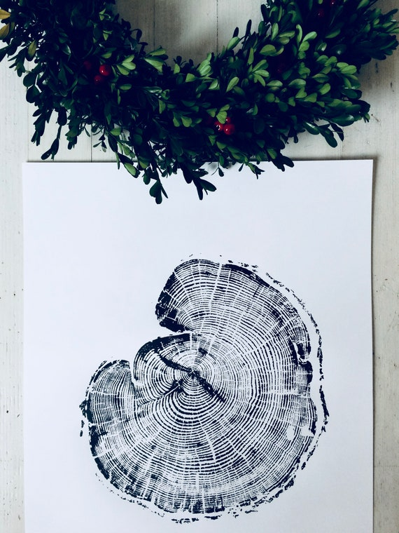 Woodcut, Tree rings print, Tree slice, Woodblock art, Tree slice, Wood slice, Tree ring art print, Nature inspired, Tree lover, Real tree