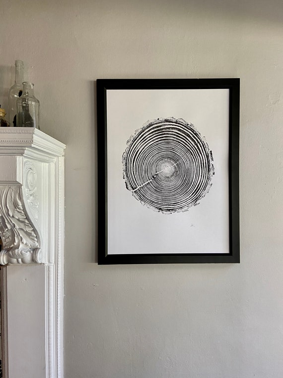 Georgia Pine, Tree ring print, Tree stump art, Griffin Georgia, Tree print art, Handmade, Woodcut, Linton Art