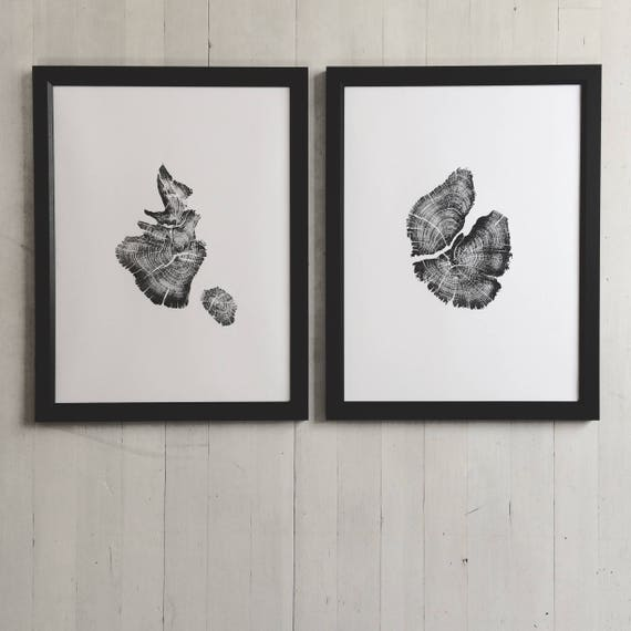 Juniper tree art, Woodcut art, Handmade tree ring print, His and Hers art, two trees, Juniper Tree Print, Tree ring print, Tree stump art