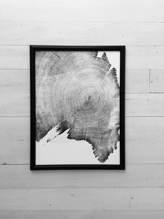 900 Year Old Tree, Tree ring art print, 12x16, woodcut print, Tree Roots, Real tree art, woodcut art print, 5th Anniversary gift, Juniper