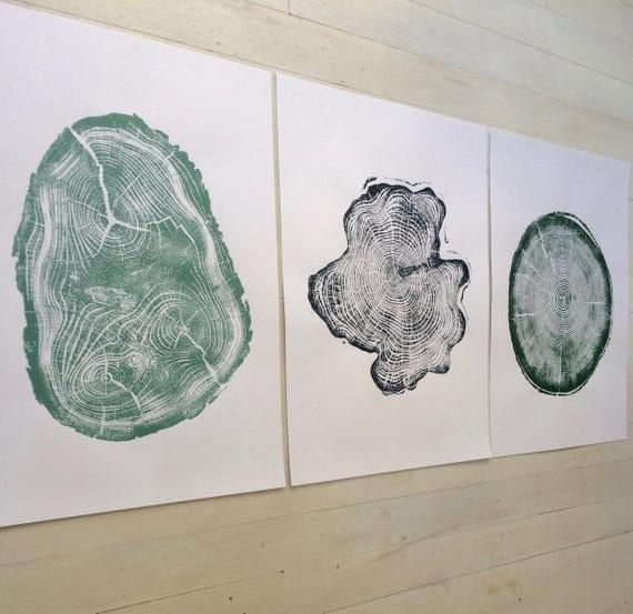 Green and charcoal, Tree ring prints, set of three, tree stamp, Hand pressed prints, Christmas art, Tree ring art, Linton Art, real art gift