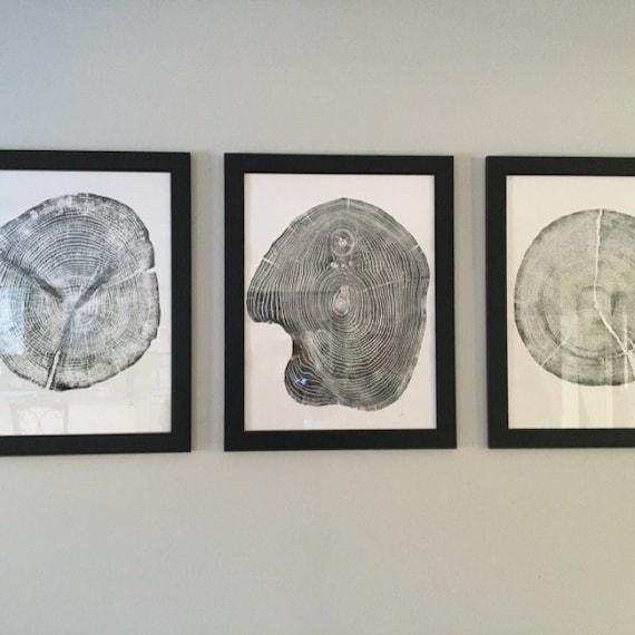 Set of 3 tree ring prints, Triptych Wall Art, Large Tree Rings, Pine tree rings, Cedar Tree rings, Mulberry Tree rings, Christmas art ideas