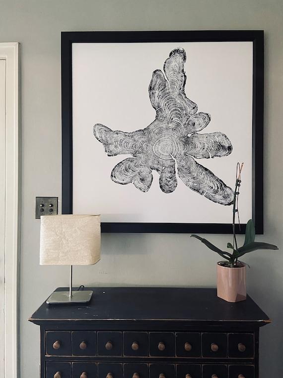 Adirondacks New York, Cypress Tree ring art print, Tree trunk art, Tree slice, Woodcut art, Anniversary, Woodblock, original Linton, 36x36