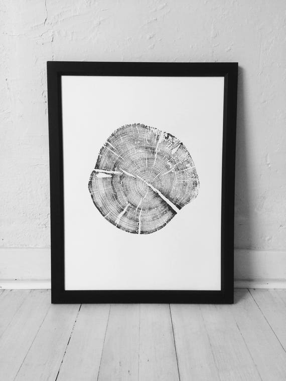 Grand Tetons Print, Tree ring art, Woodcut, Pine Tree art Print, Wyoming Art, Arborist art, Tree Ring Print, Tree hugger gifts, Arborist