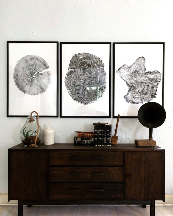 Set of 3 Large Tree Ring Prints, Tree stump prints, Tree ring print, tree ring art, triptych art set, large art prints, Christmas wall decor