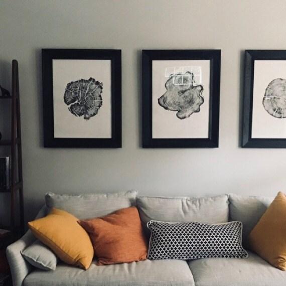 Triptych Tree Ring Art, Tree ring art prints from Alaska, Tetons, Yellowstone, Real Tree stump art, tree ring prints, 5th anniversary