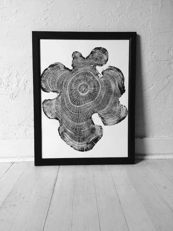 Ohio Locust Tree, Tree ring print, Woodcut print, Tree ring print, Handmade print, Tree stamp, Tree ring art, Nature inspired art, Woodblock