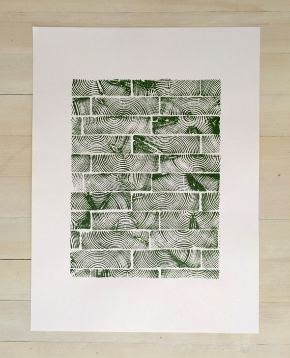 Textured wall art, Cut and Stacked Lumber, Original woodblock, tree ring print, Christmas Tree, Christmas art, holiday art decor, tree art