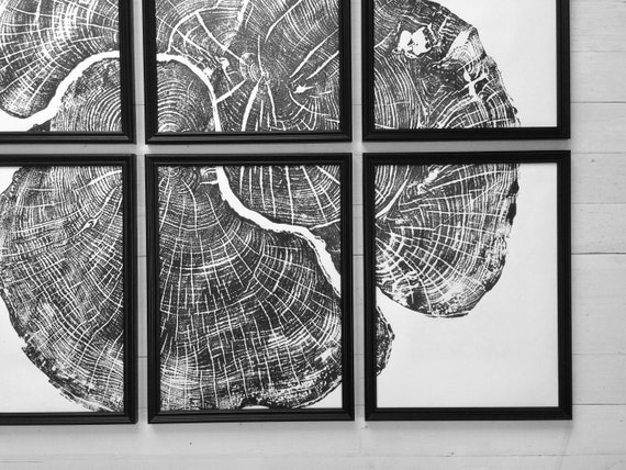 Tree Stump art, Set of 6, Tree lover art, Nature inspired, Tree ring art print, Interior art, art set of 6, black and white abstract, Linton