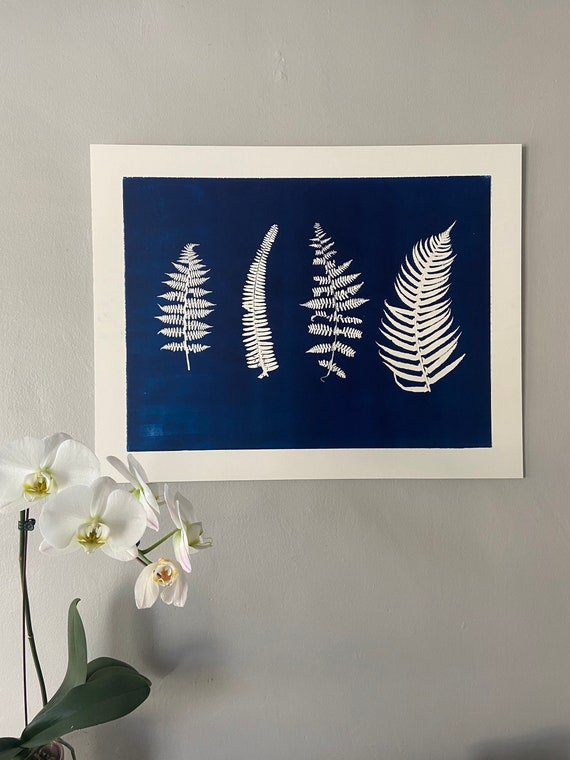 Blue Botanical wall art, hand pressed botanicals from ferns and leaves, Blue botanical monoprint, 18x24 inch botanicals, Fern wall art