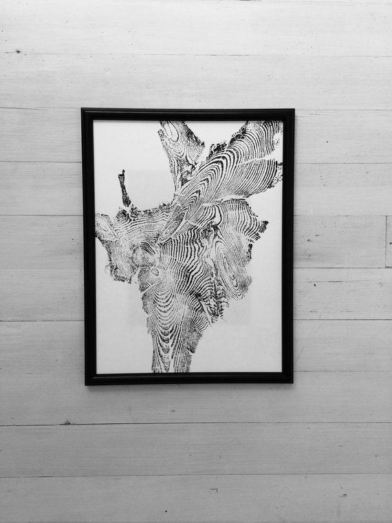 Island Park Idaho, Tree ring art print, 12x16, woodcut print, Tree Roots, Real tree art, woodcut art print, 5th Anniversary gift