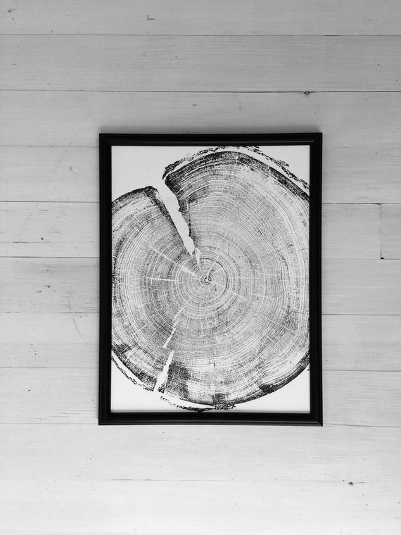 Tree ring art print, 12x16, woodcut print, tree slice art print, 1st year anniversary, Real tree art, woodcut art print, Rock Canyon, Utah