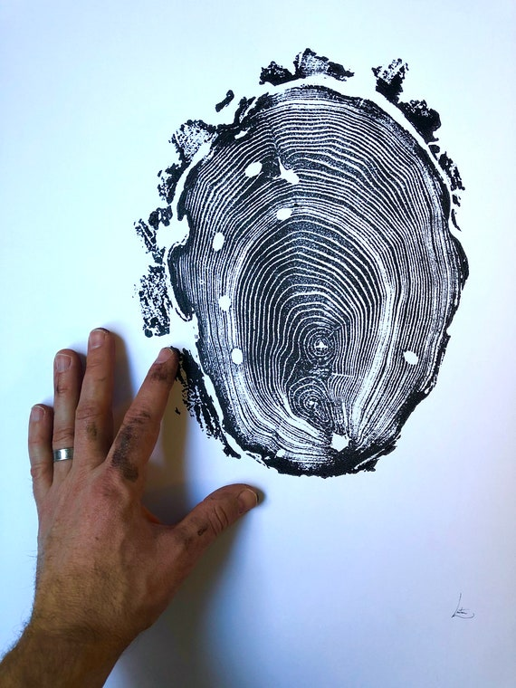 Henry David Thoreau, Walden Pond, Tree ring print from Massachusetts, Locust tree art, Tree slice print, tree stump print, by Erik Linton