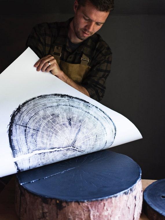 Tree rings (x4) : Douglas Fir, Ash, Hemlock, Nauvoo, Illinois Tree ring print, Old Oak Tree
