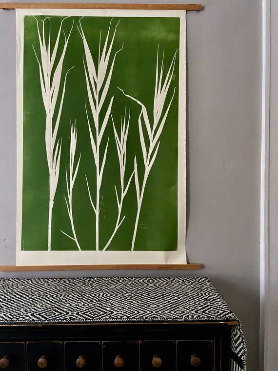 Bamboo Green Botanical, hand pressed botanicals, From Real Plants, Green monoprint, giclee botanicals, Plant wall art, collage
