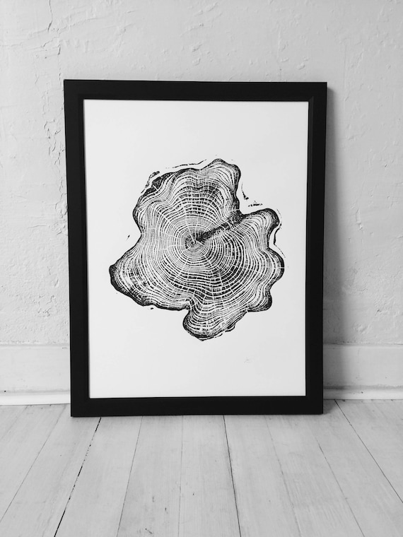 Alaskan Cedar Tree, Woodcut art, Tree ring Art Print, Tongass National Forest, Woodcut print, real woodblock, Fathers day Alaska, Dad gifts