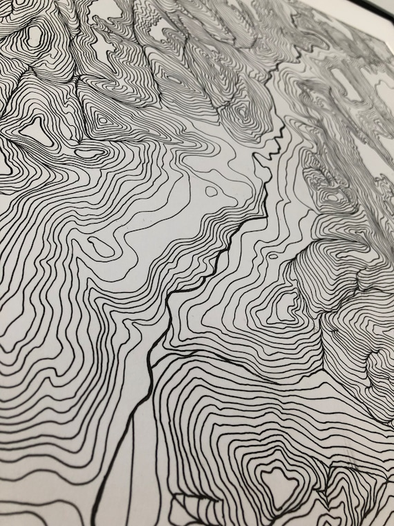 Map of Zion National Park, Topographical Map, Hand drawn, National park prints, 24x36 inches