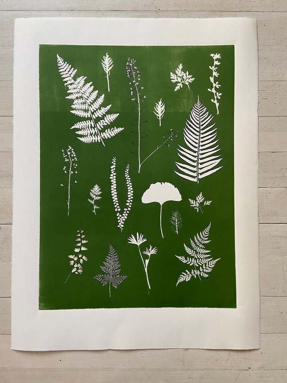 Botanical Fern Collage, hand pressed botanicals, From Real Plants, Green monoprint, giclee botanicals, Plant wall art, collage