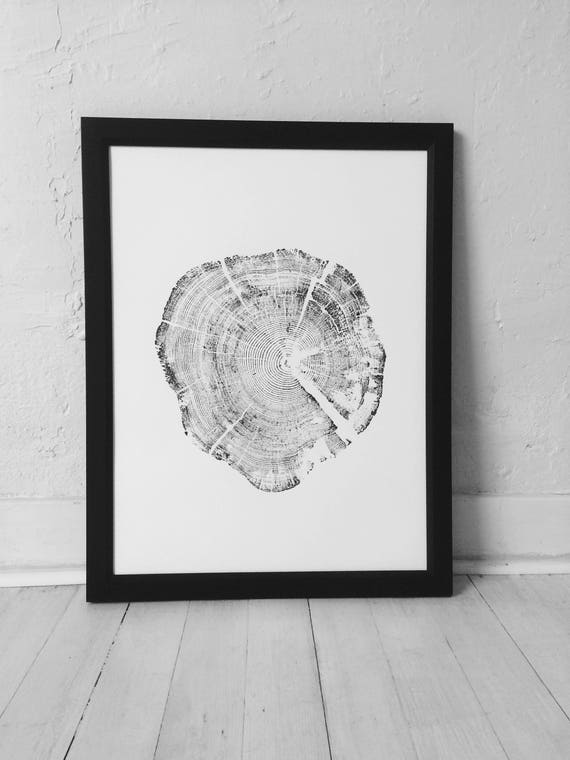 Glacier National Park, Real tree stump art, Woodcut print, Tree ring art print, Christmas Tree art, Arborist gifts, Manly Gifts, Fathers Day