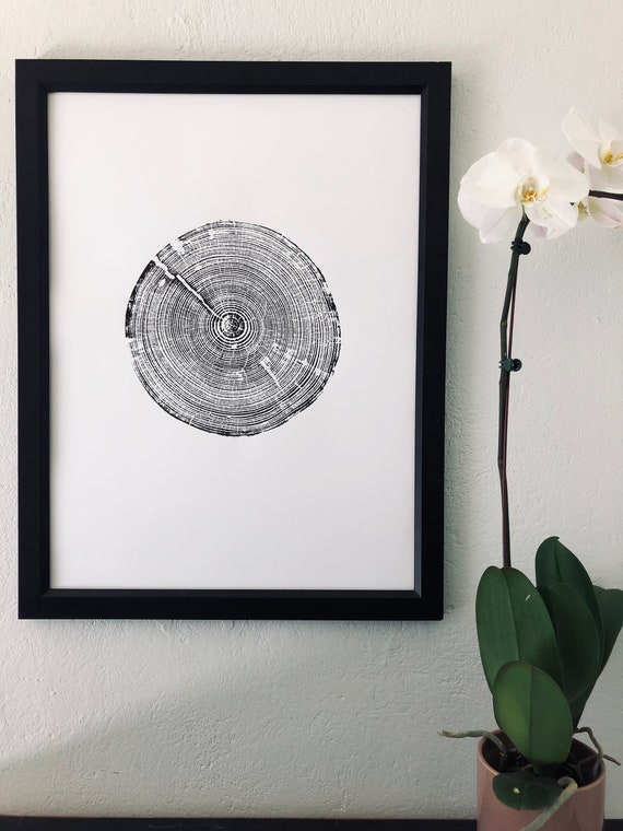 Alabama Tree Ring Print, Alabama art print, made by hand from a real tree from Birmingham area, Original woodcut print, 18x24 inch paper