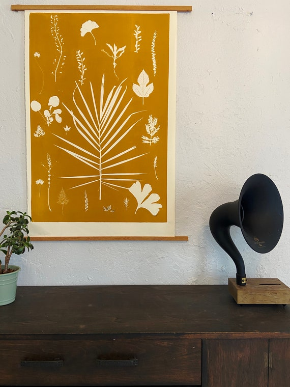 Botanical Collage, hand pressed botanicals, From Real Plants, Yellow Gold monoprint, giclee botanicals, Plant wall art, collage