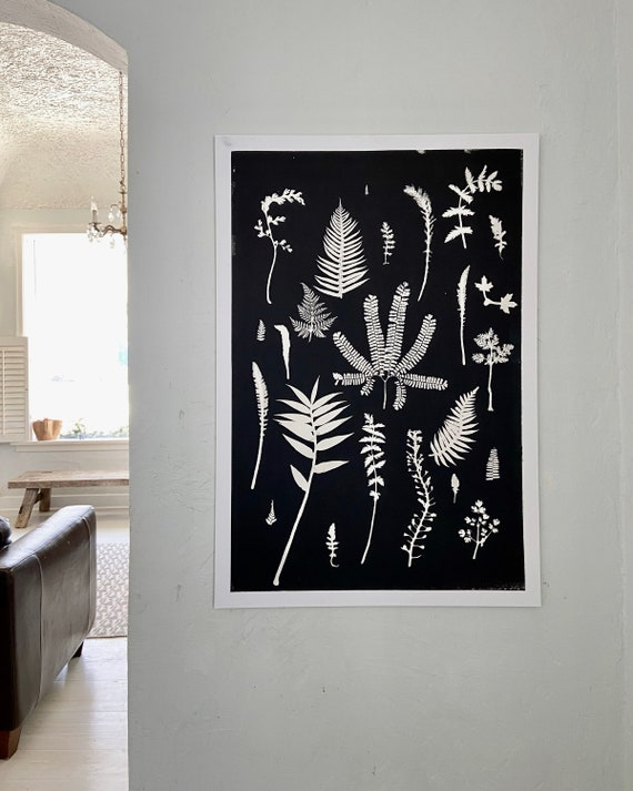 Botanical wall art, hand pressed botanicals from ferns and leaves, Black botanical monoprint, 24x36 inch botanicals, Fern wall art, collage