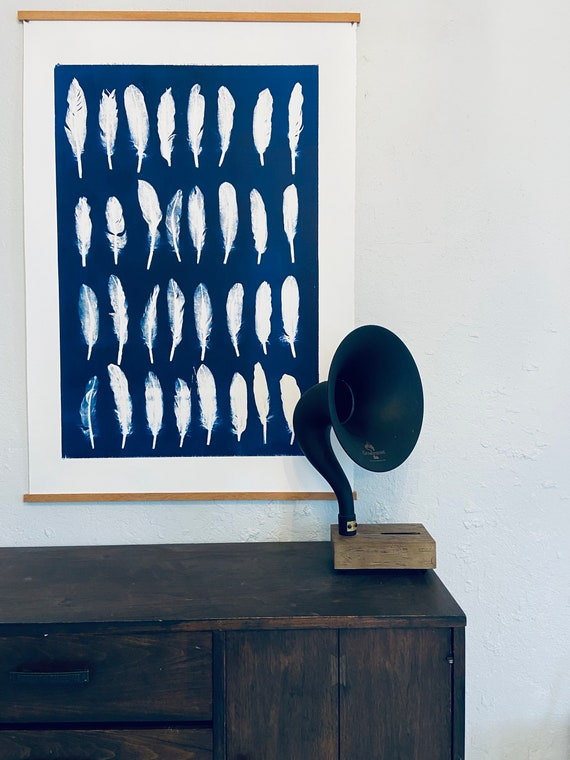 Blue feather Collage, hand pressed featers, From Real feathers, Blue monoprint, giclee botanicals, Plant wall art, collage