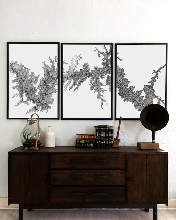 Topographic Map, Grand Canyon Map, Christmas Ideas, Triptych art, Grand Canyon topography, Oversized Art, Grand Canyon, Christmas gifts