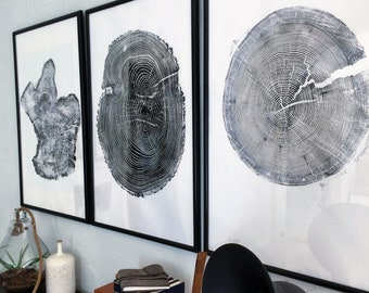 Set of 3 Large Tree Ring Prints, Tree stump prints, Tree ring print, tree ring art, triptych art set, large art prints, Three piece wall art