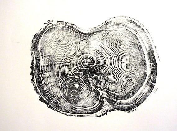 Tree stump art print, Albion Basin UT, Christmas art gift, Thanksgiving wall art, tree slice art, holiday wall decor, tree art gift, woodcut