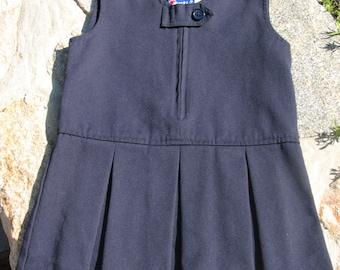 Vintage Girls Dress - Pleated Dress - School Uniform - Navy Girls Dress - Size 3