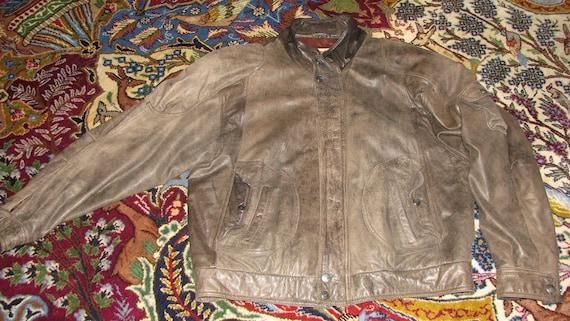 1990s Leather Jacket - Vintage Leather Jacket - Fr