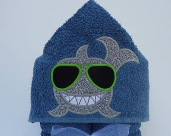 Cool Shark Hooded Towel - Shark Hooded Towel - Kid's Hooded Towel - Beach Towel - Embroidered Towel - Kid's Gift - Pool Towel - Bath Towel
