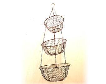 Vintage Wire Mesh Hanging Basket Metal 3 tiers Baskets