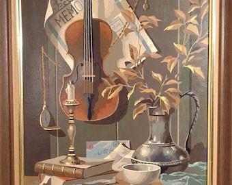 Still Life PBN Paint by Number Violin Framed
