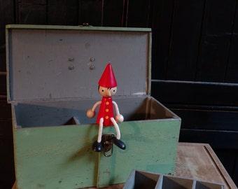 Old Handmade Rustic Green Wooden Tool Box