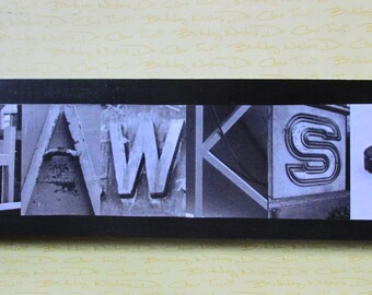 Chicago BlackHAWKS sign, Stanley Cup Champs, Hockey team, Hawks fan, sport sign, hockey team. Photo Letter Art on Wood art