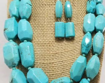 Handcrafted Elegant Double Standard Natural Turquoise- Sterling Silver Statement Chunky Necklace Earring Set, Accessories, beautiful,