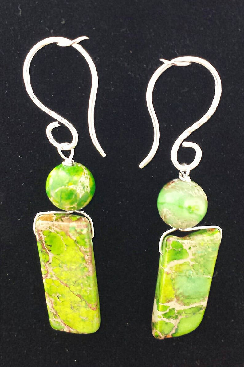 and Vibrant Green Sea Sediment Imperial Jasper Slabs Bib Necklace and Two-tier Wrapped Earring Set Bold Handcrafted Sterling Silver Chunky