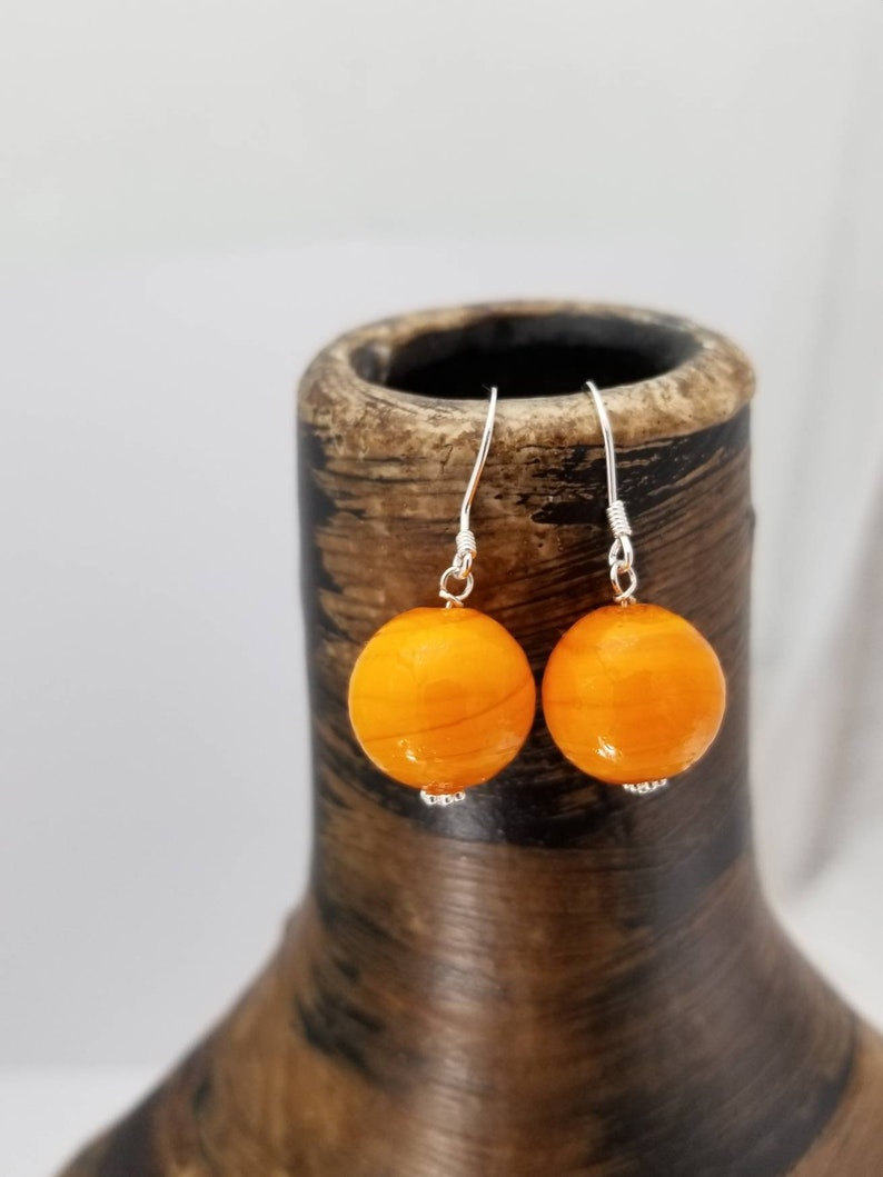 Elegant Artisan Jewelry Sophisticated and Affordable Jewelry Sterling Silver Orange Color Round Swirl Dropped Earrings Handcrafted
