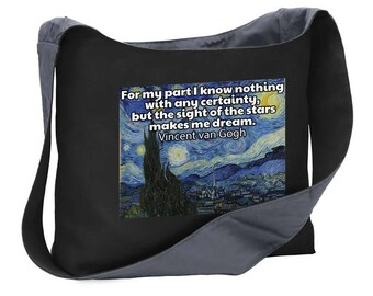3edfece58 Nan Gogh quote starry night wide strap shoulder sling bag tote purse
