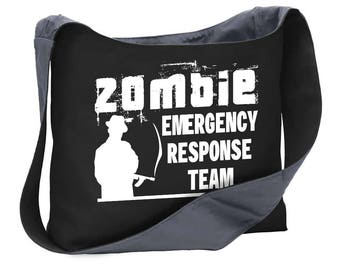 Zombie emergency response team  wide strap shoulder sling bag tote undead walking dead