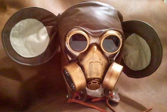 Homme Cuir Post Steampunk Larp À Brûlant Gaz Apocalyptique Le Masque Mickey f6g7vYby