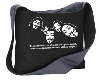 People...government anonymous v vendetta wide strap shoulder sling bag tote